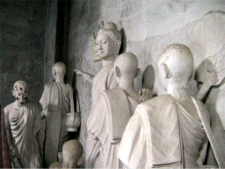 Diorama of Buddhist teachings inside the relcining Buddha