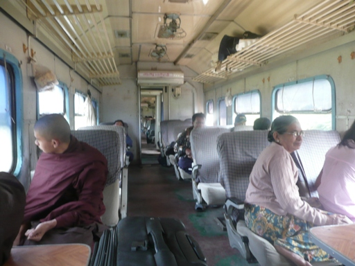 Upper Class Train Carriage - Yangon to Mawlamyine